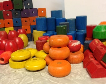 Miscellaneous drilled wood blocks - wooden beads, primary colored woodvbeads