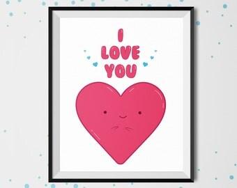 I Love You, Doodle art, Valentine's day, printable art, love print, illustration, instant download, valentines day print, la saint valentin