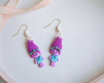 Fimo handmade earrings inspired by Trolls Poppy