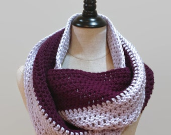 Color block scarf, Purple crochet infinity scarf, knit eternity scarf, multicolor circle scarf, 2 color striped cowl, ready to ship