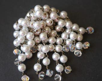 Waterfall cascade vintage brooch, faux pearl and aurora borealis beads