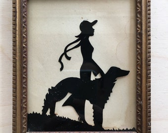 Vintage silhouette of lady and dog heirloom print