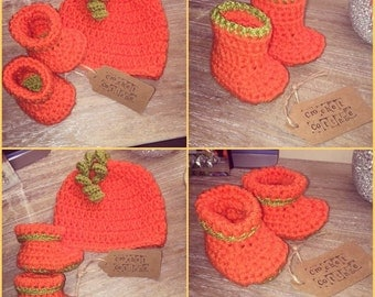 Pumpkin Hat & Booties