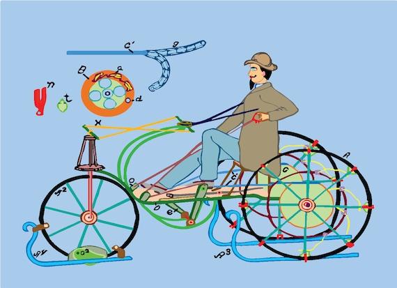 1868 Three-Wheeled Velocipede Holiday Card (U.S. Patent 85,501), sprk.plug image Greeting Card