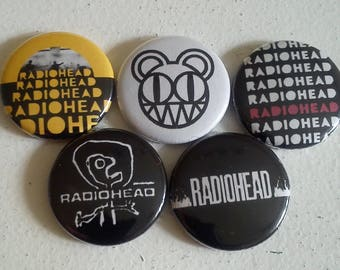 "5 x Radiohead 1"" Pin Button Badges ( music thom yorke pablo honey the bends )"