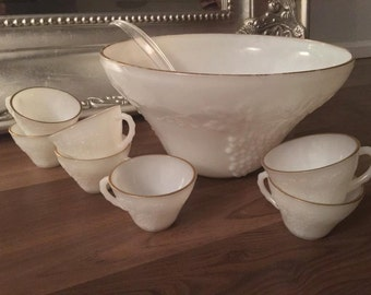 Punch Bowl - Vintage Punch Bowl - Milk Glass Punch Bowl - Milk Glass - Vintage - Milk Glass Bowl