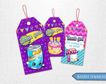 Shopkins tags, Shopkins thank you tags, Shopkins favor tags, Shopkins party favor!