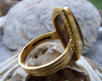 Rainforrest Jasper • VERMEIL • Size 11 Ring • Authentic Lustrous 24 Kt Gold On Silver