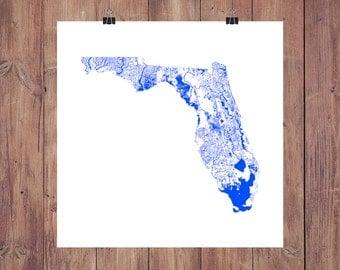 Florida Rivers & Waterbodies High Resolution Digital Print / Map of Florida / Florida Print / Florida Art / Florida Map / Florida Poster