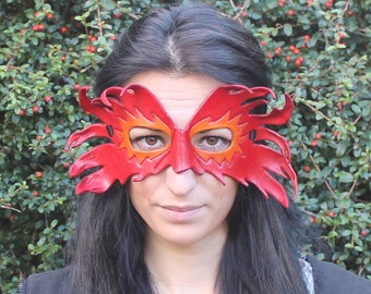 Red and Orange Leather Flame Mask