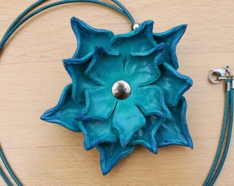 Boho/hippy turquoise blue leather three layer flower on turquoise blue leather cord