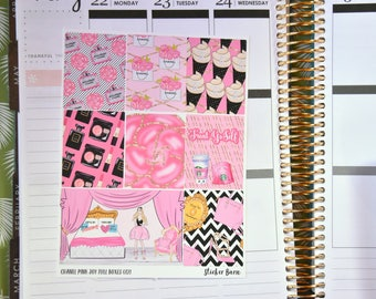 Pink Joy Chanel | Full Boxes for Erin Condren Planner | Happy Planner Stickers | B0121