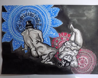 ink on paper painting coloured in blue and red naked women ornaments