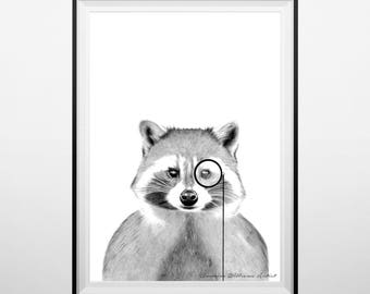 Racoon wearing a monocle print
