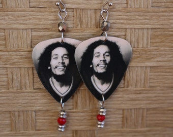 Bob Marley guitar pick earrings, rasta earrings, guitar pick jewelry, guitar pick earrings
