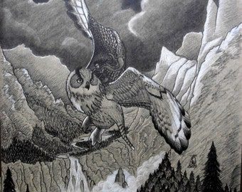 Great Owl, owl, medieval, fantasy, elf, elven, landscape, original art, fantasy art