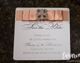 Diamond Deco Save the Date | Luxury Save the Date | Save the Date Announcement | Ribbon Save the Date | Custom Save the Date