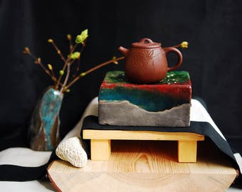 Ceramic raku teabox teatray teapot stand