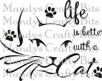Digital file SVG life is better with cats