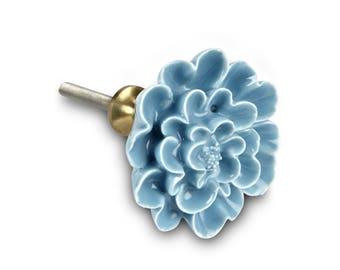 Sculpted Turquoise Flower Knob, Flower Drawer Pull, Decorative Ceramic Flower Knob, Decorative Handle, Farmhouse Decor