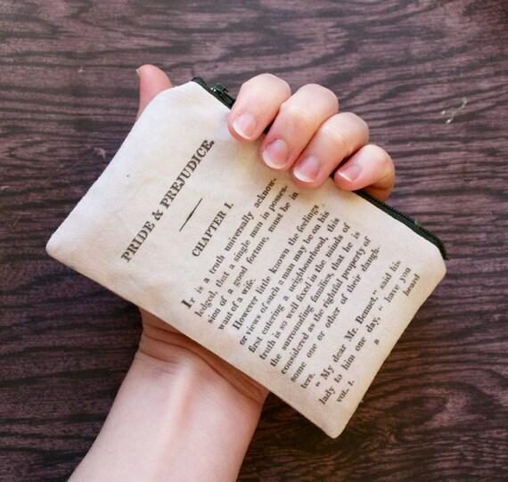 Pride and Prejudice Small Pouch - Limited Edition BritLit Accessory - Jane Austen - Lined Zip Zipper Purse Handmade in USA literature