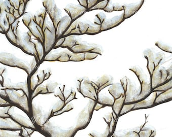 """Printable Illustration, Home Decor, Wall Decor Art Acrylic Painting, Instant Download """"Winter tree"""""""