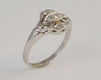 14k White Gold Diamond Art Deco Antique Ring Size 5.75(01026)