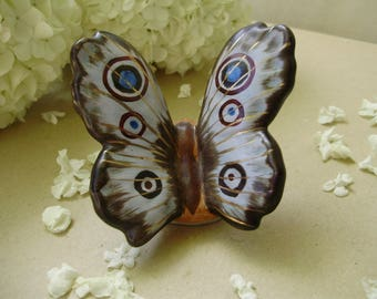 Vintage Hungarian ceramic figurine ,butterfly,handpainted,stamped