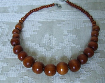 Wooden beads Wooden necklace  Large brown beads Vintage necklace  Necklace walnut wood