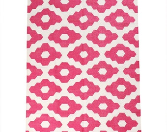 pink dhurrie with pompon 120cm x 180cm
