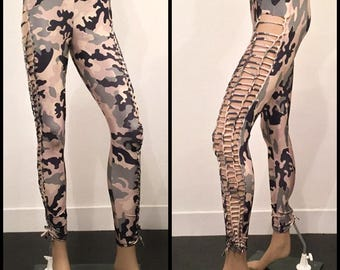 SALE!! Shredded And Braided Camouflage Handmade Leggings Military Army Slashed Metal Punk