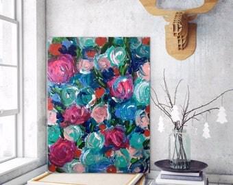 blue pink flower garden, Flower art, Garden art, Abstract art,Acrylic Painting,Art Print, flower home decor,garden decor,contemporary art