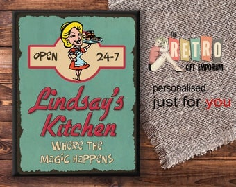 Personalised Metal Wall Plaque, Metal Wall Sign, Retro, Kitchen Sign