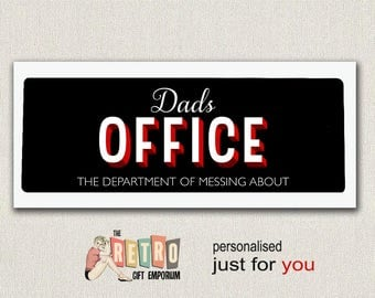 Custom Office Sign, Dads Office, Metal Door Plaque, Dad Sign, Fathers Day Gift, Retro Metal Sign, Fun Gift For Dad, Office Decor