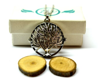 Tree of Life Locket Essential Oil Diffuser Necklace // Aromatherapy Necklace // - With Choice of Essential Oil