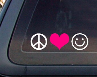Peace Love Happiness w PINK Heart Car Decal  Sticker,6.5 x 1.8, Decal,Sticker,Car window decal, Car sticker.         *Free Shipping*