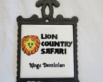 Kings Dominion Lion Country Safari Vintage Souvenir Spoon Rest Ceramic Metal Virginia Amusement Park Paramount Pictures Cedar Fair