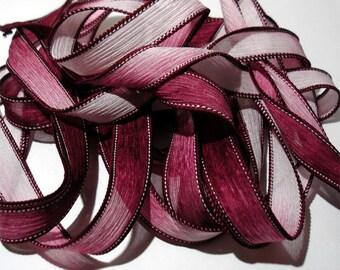 "1PC. MAROON 42"" hand dyed wrist wrap bracelet silk ribbon//Yoga wrist wrap bracelet ribbons//Hand dyed Boho Silk wrist wrap ribbon"