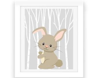 Woodland Nursery Download - Bunny Digital Print - Baby Nursery Decor - Woodland Animals - Baby Print - Nursery Wall Art - Baby Room Decor