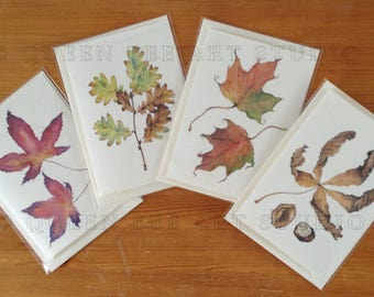 Autumn leaves notelets, Leaf thank you cards, Botanical art cards, Botanical illustration thank you cards, Leaf notelets, Botanical cards
