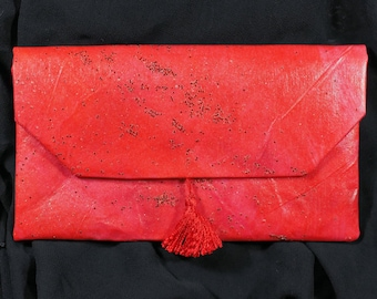 HAND PAINTED Red Artisan Small Handbag or Clutch Wallet or Phone Case - Sample Sale. FREE Shipping!