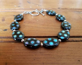 Black Multi Beaded Toggle Bracelet