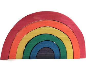 Waldorf Inspired Rainbow Wooden Stacker / Reggio / Montessori / Nesting Toy / Preschool /Open-Ended Toy /Loose Parts Play  /Block Play