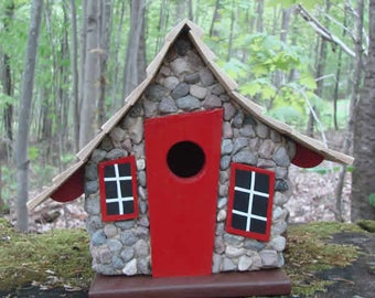 Whimsical Birdhouse Stone, Wooden Birdhouse, Painted Birdhouse, Outdoor Birdhouse, Stone Birdhouse, Red Birdhouse, Bird House