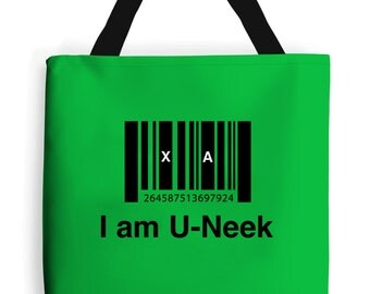 I am u-neek - Tote Bag - Inspirational Quote Green