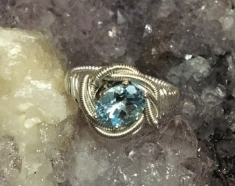 Blue Topaz wire wrapped ring