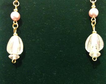 The White Glass and Pearl Dangle Earrings