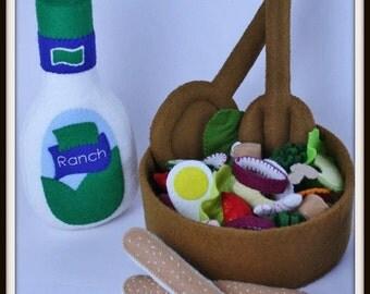 Chef's Salad Play Food Pattern, Felt Food Set, Felt Food Pattern, Felt Play Food Pattern, Felt Garden Salad Pattern, Felt Salad Set