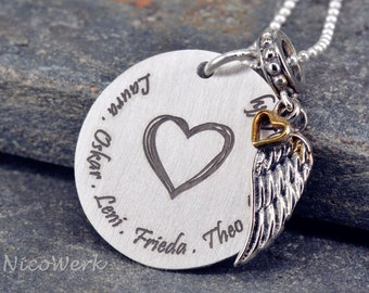 Family chain necklace-engraved pendant family necklace ESK122