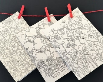 Three Hearts Black and White Coloring Cards